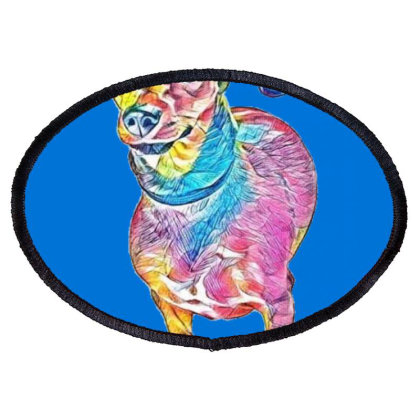 A Cute And Shy Dachshund Mixe Oval Patch Designed By Kemnabi