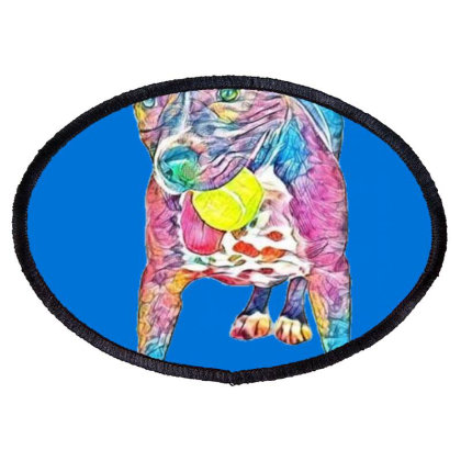 A Happy Staffordshire Bull Te Oval Patch Designed By Kemnabi