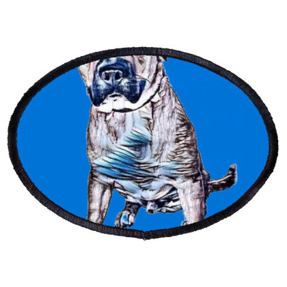 A Friendly Large Mixed Breed Oval Patch Designed By Kemnabi
