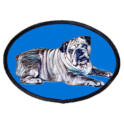 An Attentive Bulldog Laying S Oval Patch Designed By Kemnabi
