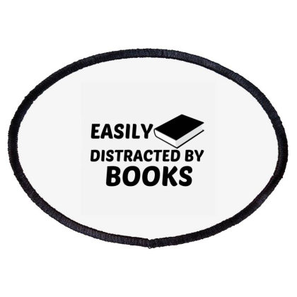 Books Easily Distracted Oval Patch Designed By Perfect Designers