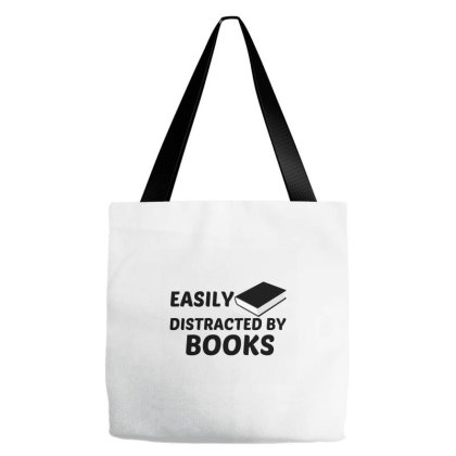 Books Easily Distracted Tote Bags Designed By Perfect Designers