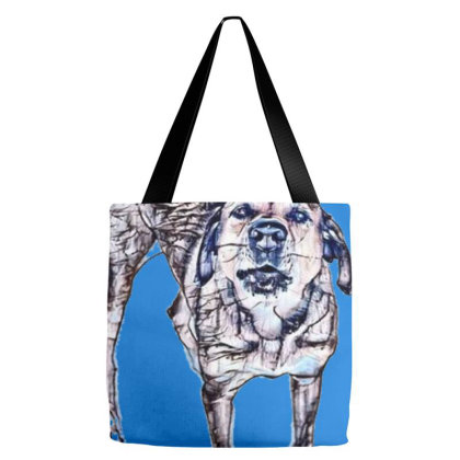 A Large Mixed Breed Dog Stand Tote Bags Designed By Kemnabi