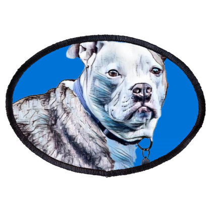 A Pretty Pit Bull Dog Laying Oval Patch Designed By Kemnabi