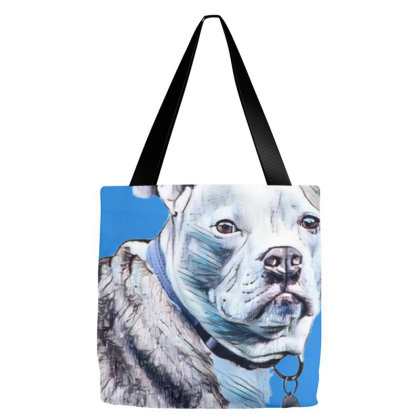 A Pretty Pit Bull Dog Laying Tote Bags Designed By Kemnabi