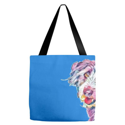 Happy Scruffy Terrier Mixed B Tote Bags Designed By Kemnabi
