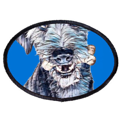Large Terrier Mixed Breed Dog Oval Patch Designed By Kemnabi