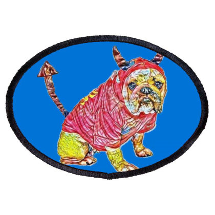 Funny Bulldog Breed Dog Weari Oval Patch Designed By Kemnabi