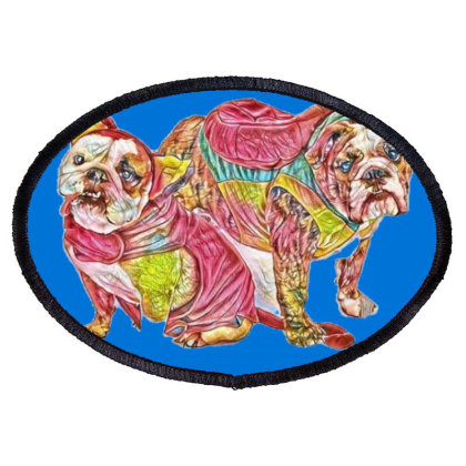 Two Cute Bulldog Breed Dogs W Oval Patch Designed By Kemnabi