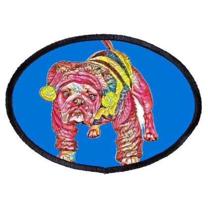 Funny And Cute Bulldog Breed Oval Patch Designed By Kemnabi