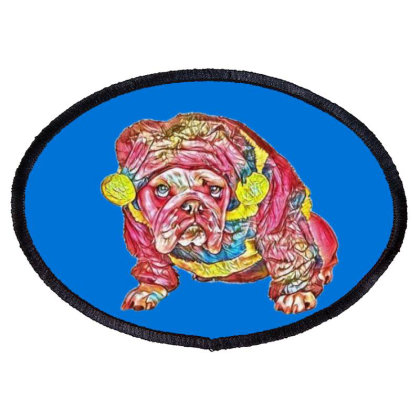Funny And Unhappy Bulldog Bre Oval Patch Designed By Kemnabi