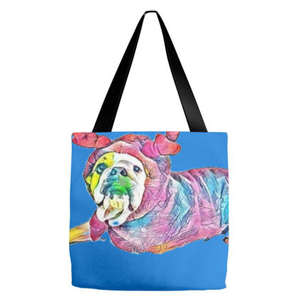 Funny Photo Of A Bulldog Bred Tote Bags Designed By Kemnabi