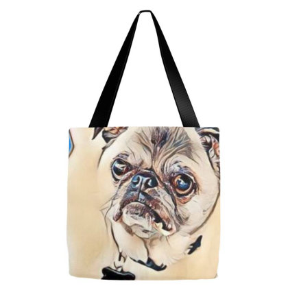 Old Pug Breed Dog Standing On Tote Bags Designed By Kemnabi