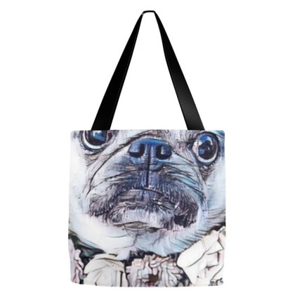 Cute Pug Breed Dog Wearing A Tote Bags Designed By Kemnabi