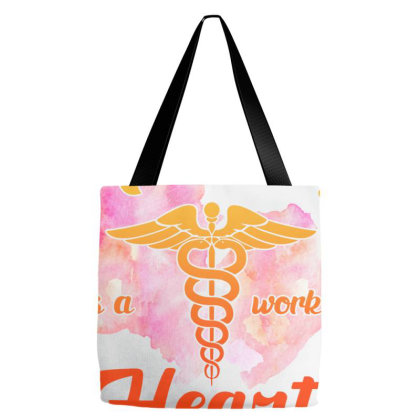Nursing Is A Work Of Heart Tote Bags Designed By Sengul