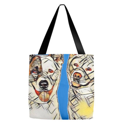 Portrait Of Akita Dogs Over B Tote Bags Designed By Kemnabi