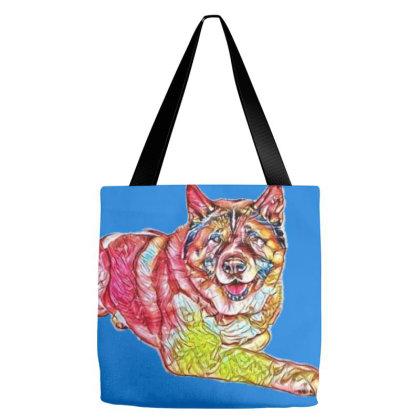 Portrait Of Brown Akita Dog L Tote Bags Designed By Kemnabi