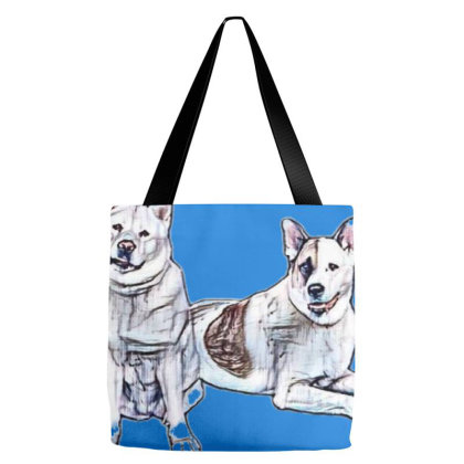 Portrait Of Dogs Relaxing Ove Tote Bags Designed By Kemnabi