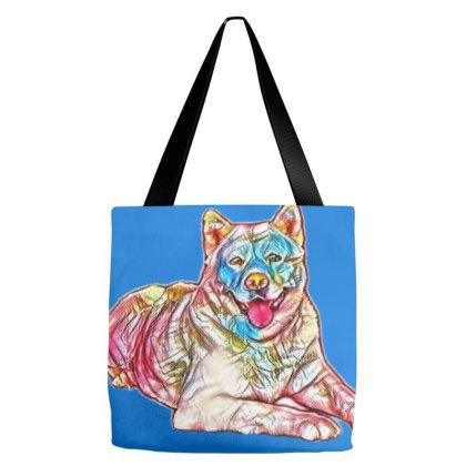 Portrait Of Akita Dog Lying O Tote Bags Designed By Kemnabi