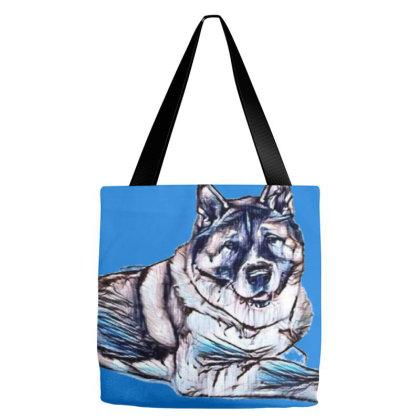 Portrait Of Loyal Akita Dog L Tote Bags Designed By Kemnabi