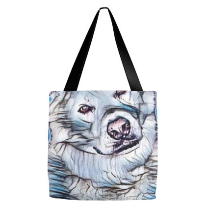 Portrait Of Akita Dog While S Tote Bags Designed By Kemnabi