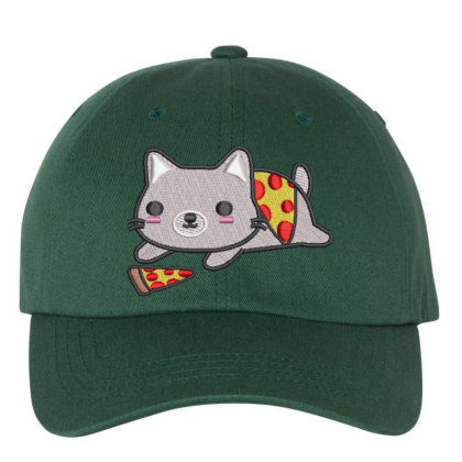 Cat With Pizza Embroidered Hat Embroidered Dad Cap Designed By Madhatter