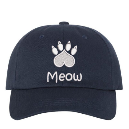 Meow Paw Embroidered Hat Embroidered Dad Cap Designed By Madhatter