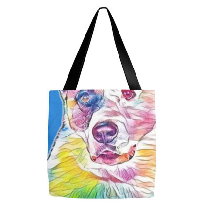 Portrait Of Dog Sitting Again Tote Bags Designed By Kemnabi