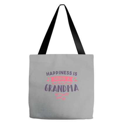 Happiness Being Grandma Lettering Tote Bags Designed By Bakari10