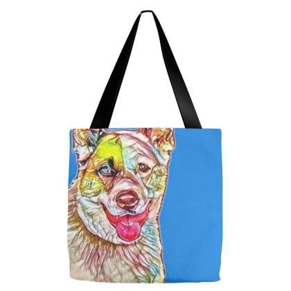 Portrait Of Dog Panting Again Tote Bags Designed By Kemnabi