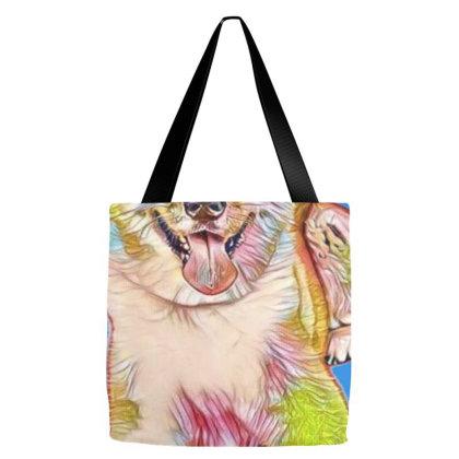 Portrait Of Akita Dog Lying W Tote Bags Designed By Kemnabi