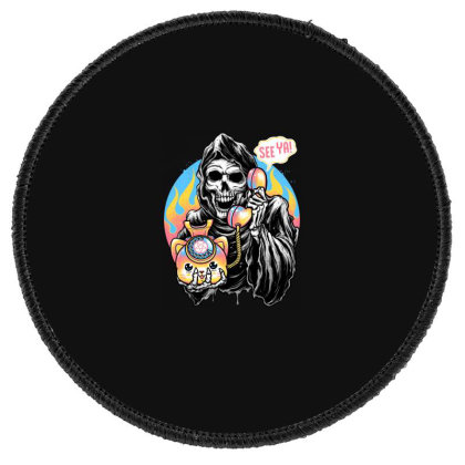 Death Is Calling Round Patch Designed By Glitchygorilla