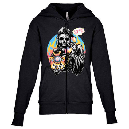 Death Is Calling Youth Zipper Hoodie Designed By Glitchygorilla