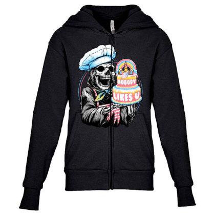 Doom Cake Youth Zipper Hoodie Designed By Glitchygorilla