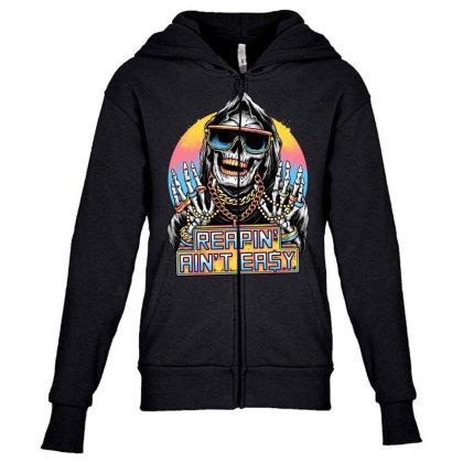 The Grim Rapper Youth Zipper Hoodie Designed By Glitchygorilla
