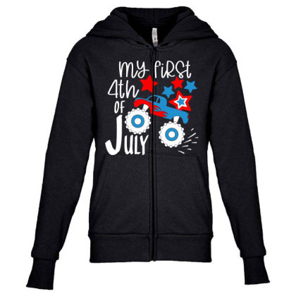 My First 4th Of July Youth Zipper Hoodie Designed By Tht
