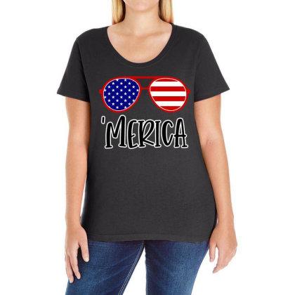 Merica Ladies Curvy T-shirt Designed By Tht