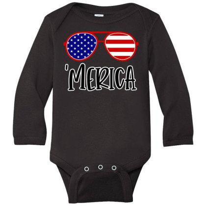 Merica Long Sleeve Baby Bodysuit Designed By Tht
