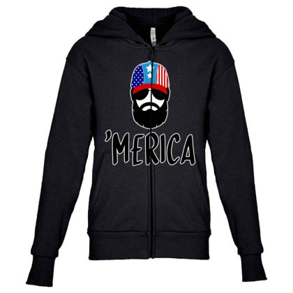 Merica Youth Zipper Hoodie Designed By Tht