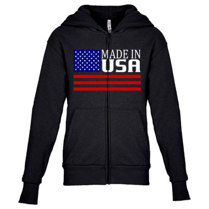 Made In Usa Youth Zipper Hoodie Designed By Tht