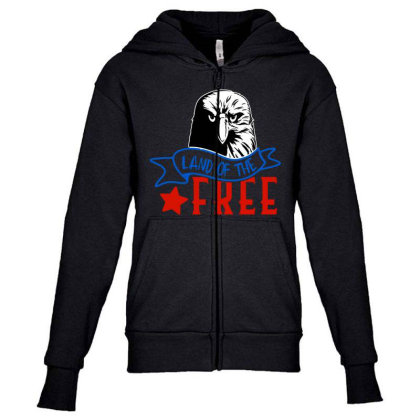 Land Of The Free Youth Zipper Hoodie Designed By Tht