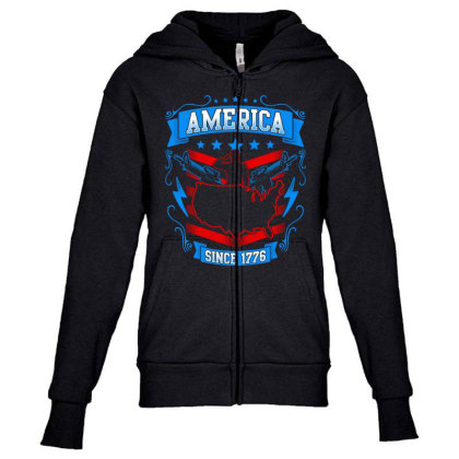 Great America Since 1776 Youth Zipper Hoodie Designed By Tht