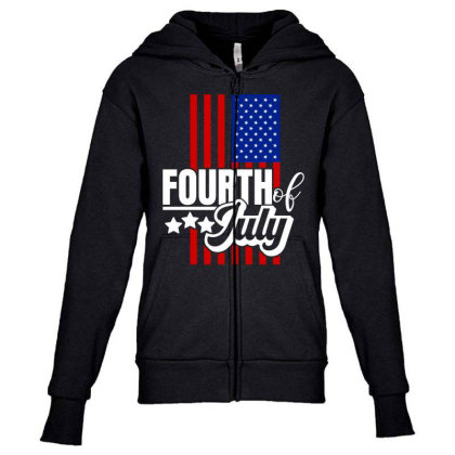 Fourth Of July Youth Zipper Hoodie Designed By Tht