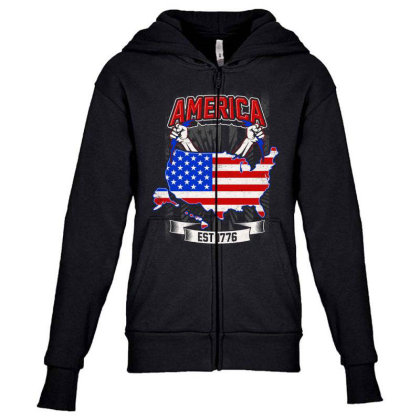American Themed Youth Zipper Hoodie Designed By Tht