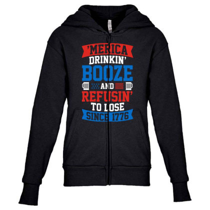 America Drinking Booze Youth Zipper Hoodie Designed By Tht