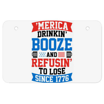 America Drinking Booze Atv License Plate Designed By Tht