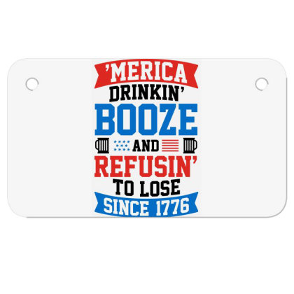 America Drinking Booze Motorcycle License Plate Designed By Tht
