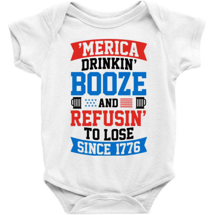 America Drinking Booze Baby Bodysuit Designed By Tht