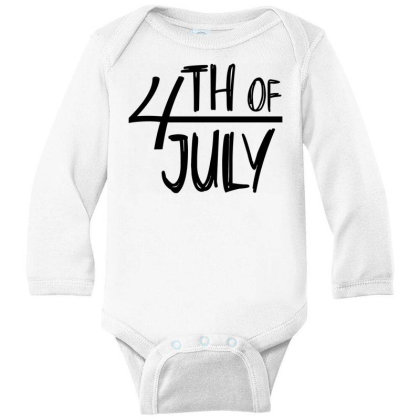 4th Of July Happy Independence Day Long Sleeve Baby Bodysuit Designed By Tht