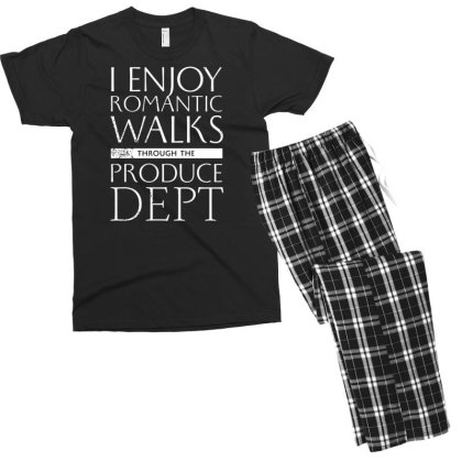 I Enjoy Romantic Walks Through The Produce Dept Men's T-shirt Pajama Set Designed By G3ry